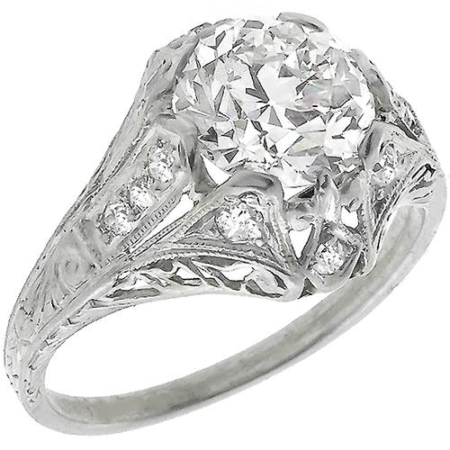 Art Deco EGL Certified 1.77ct Old European Cut Diamond Platinum Engagement Ring