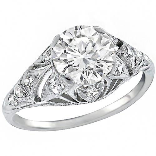 Art Deco 1.29ct Old European Cut Diamond Platinum Engagement Ring