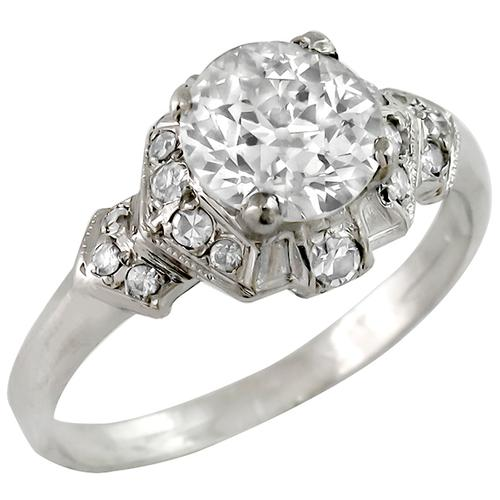 Art Deco Old European Brilliant Diamond Platinum Engagement Ring