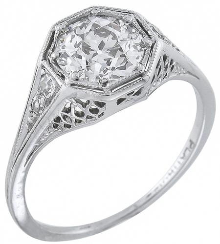 Edwardian 1.14ct  Old European Cut Diamond Platinum Engagement Ring