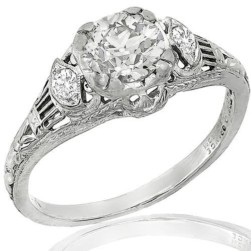 Traub Orange Blossom Diamond Platinum Engagement Ring