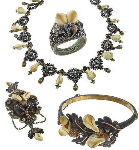 1800s Silver and Gold Elk's Ivory Jewelry Set
