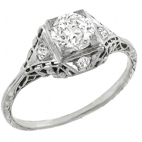 Art Deco GIA Certified 0.83ct Old European  Brilliant Diamond 18k White Gold Engagement Ring