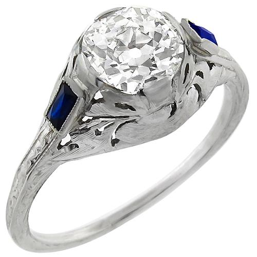Edwardian 1.01ct Old European Cut Diamond Sapphire 18k White Gold  Engagement Ring