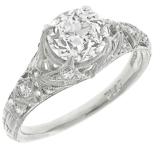 Edwardian GIA Certified  1.25ct Round Brilliant  Diamond Platinum Engagement Ring