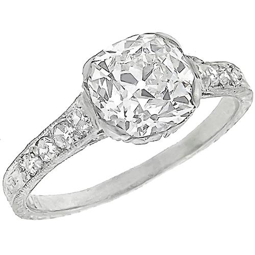 Art Deco GIA Certfified 1.79ct Old Mine  Brilliant  Diamond Platinum Engagement Ring