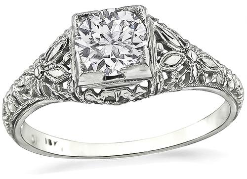 Edwardian European Cut Diamond 18k White Gold Engagement Ring
