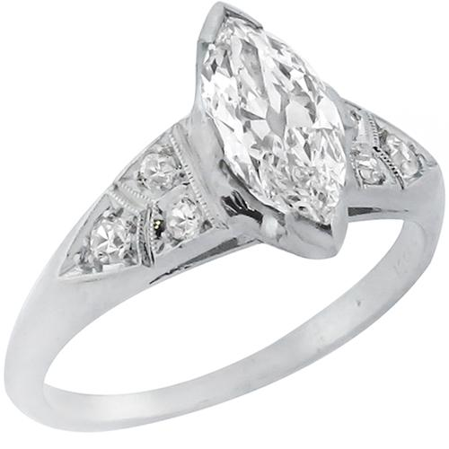 Art Deco 1.03ct Marquise Brilliant Cut Diamond Platinum Engagement Ring