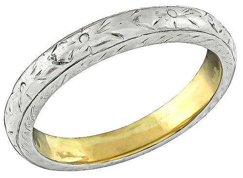 Platinum and 18K Yellow Gold Wedding Band