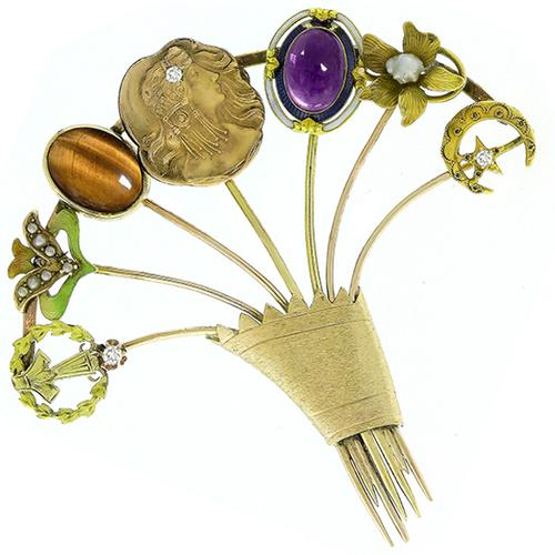 Antique Multi Gem & Stone Gold  Stack of 7 Stick Pins
