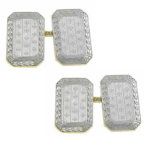 Victorian Platinum & 14k Yellow Gold Cufflinks