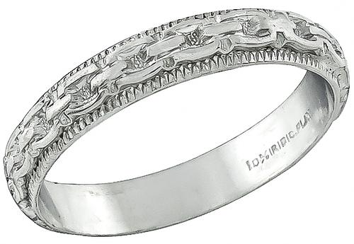 Art Deco Platinum Wedding Band