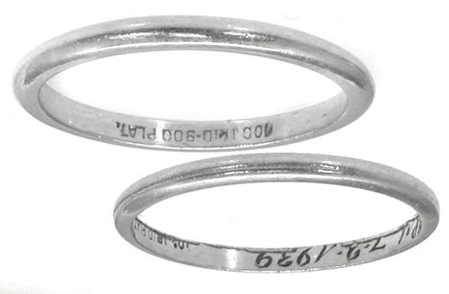 1930s Platinum Wedding Band Set