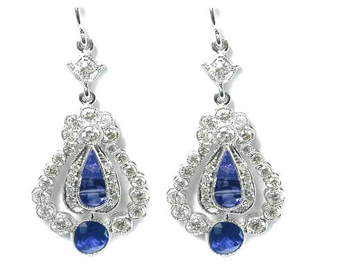 Art Deco Style 1.46ct Round & Faceted Sapphire 1.10ct Round Cut Diamond 14k White Gold Earrings