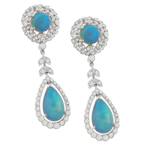 Edwardian  Style 6.00ct  Cabochon Round & Pear Shape Opal  1.15ct  Round Diamond Chandelier  18k White Gold Earrings