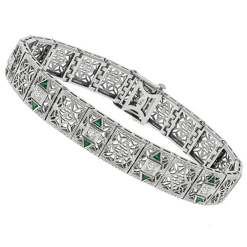 Antique 0.25ct Diamond Emerald Gold Filigree Bracelet