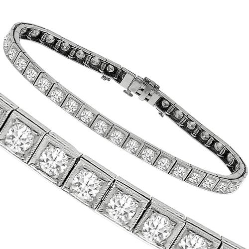 Antique 5.05ct Diamond Tennis Bracelet