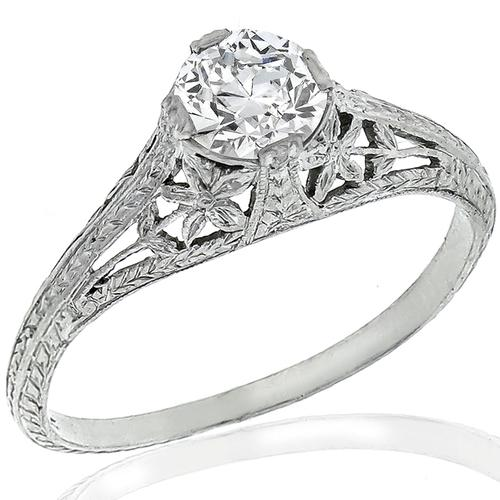 Antique GIA Diamond Platinum Engagement Ring