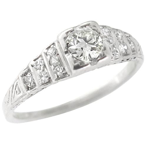 Antique  0.40ct Old Mine Diamond Engagement Ring