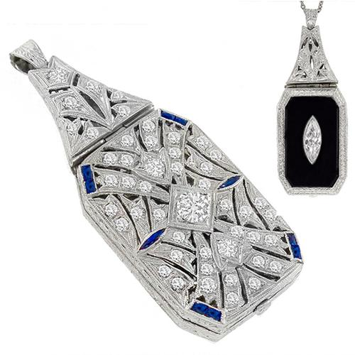 Antique Diamond Onyx Sapphire Back to Back Pendant