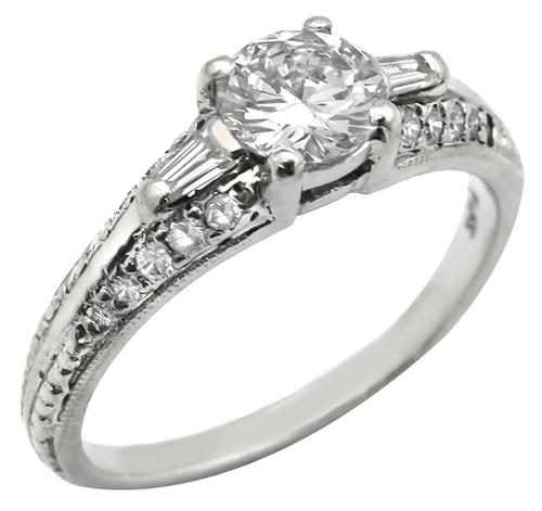 Antique 0.51ct Round Cut Diamond Platinum Engagement Ring GIA Certified