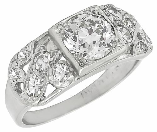 Vintage 0.85ct Old European Cut Diamond 0.40ct Round Cut Diamond 14k White Gold Engagement Ring