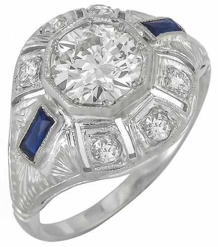 Vintage 0.98ct Old European Cut Diamond Sapphire 18k White Gold Engagement Ring