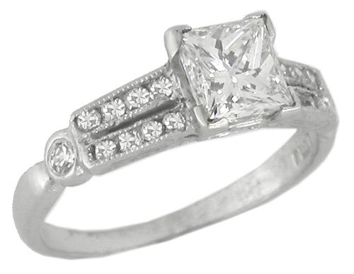 Art Deco 1.01ct Princess Cut Diamond  and 0.30ct Round Cut Diamond Platinum Engagement Ring