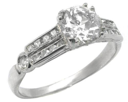 Antique Diamond Platinum Engagement Ring GIA Certified