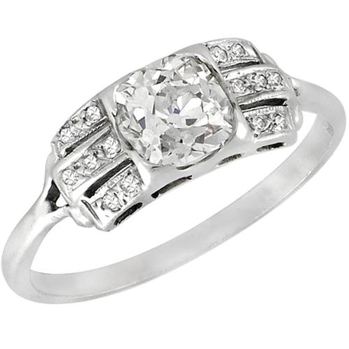 Antique 1.20ct Old Mine Cut Diamond 14k White Gold Engagement Ring