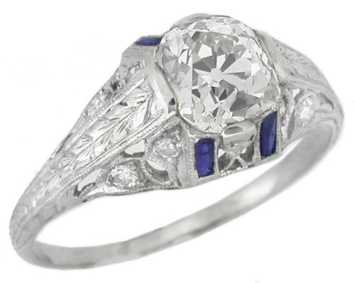 Art Deco 1.51ct Cushion Cut Diamond Sapphire Platinum Engagement Ring