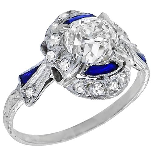 Antique 1.52ct GIA Certified Cushion Cut Diamond Sapphire Platinum Engagement Ring