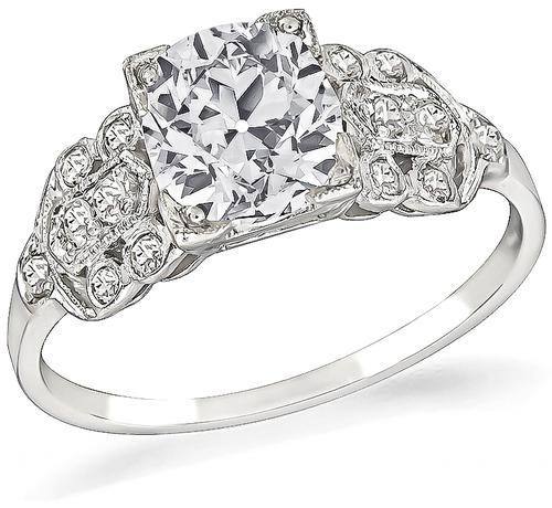 Vintage Cushion Cut Diamond Platinum Engagement Ring