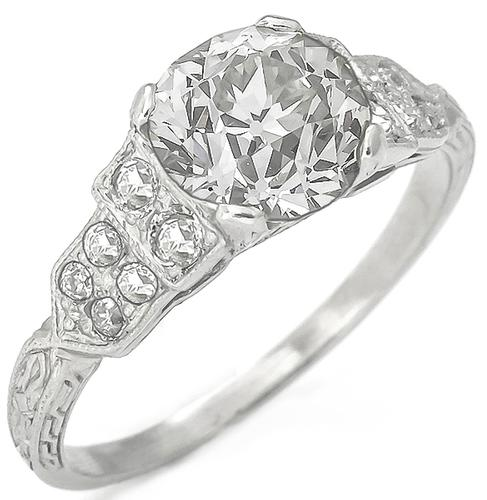 Vintage 1.55ct Old European Cut Diamond 0.30ct Old Mine Cut Diamond Platinum Engagement Ring
