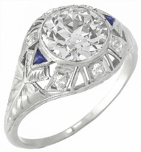 Art Deco 1.55ct Old European Cut Diamond Sapphire Platinum Engagement Ring