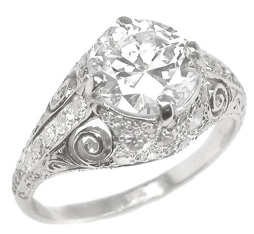 Antique PLAT. Engagement Ring GIA Certified Diamond 1.78ct.