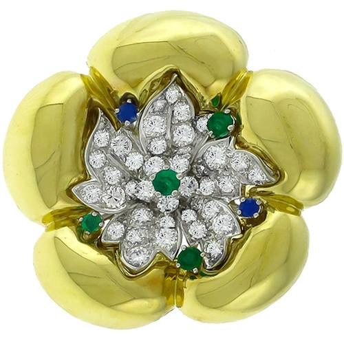 Estate 2.00ct Diamond Emerald Sapphire Floral Pin