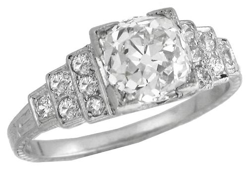 Art Deco 1.96ct Old Mine Cut Diamond Platinum Engagement Ring