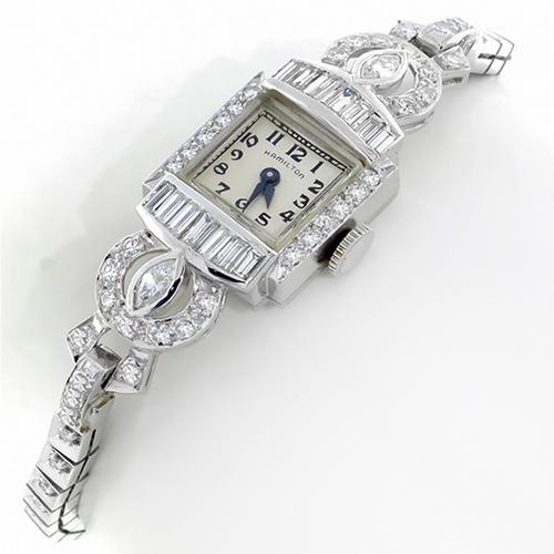 Antique  2.15ct Diamond 14k White Gold  Platinum Watch by Hamilton