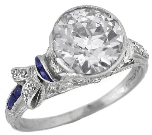 Art Deco 2.42ct Old European Diamond Sapphire Platinum Engagement Ring