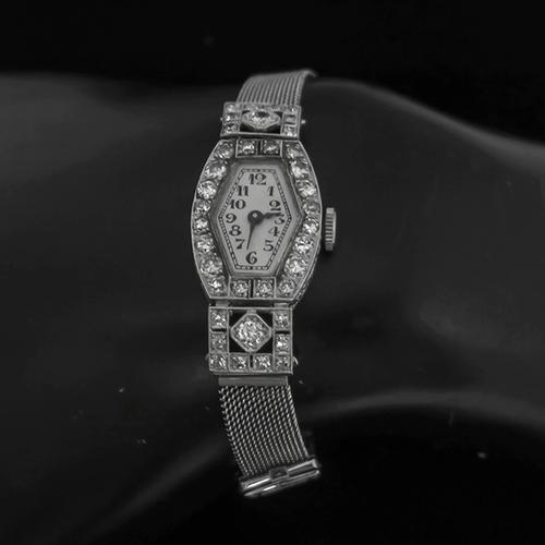 Antique  2.50ct Old Mine Diamond Platinum 18k Whie Gold Watch by Girard Perregaux