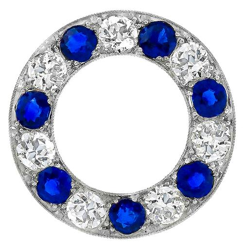 Antique 3.50ct Diamond & 2.80ct Sapphire Circle Pin