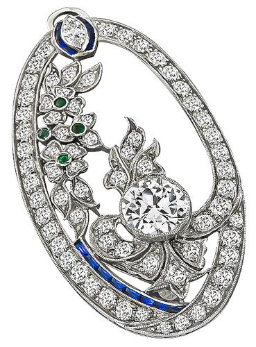 Vintage Old Mine Round and Marquise Cut Diamond Emerald Sapphire Platinum Pin / Pendant