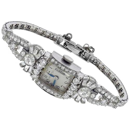 Antique Hamilton 4.00ct Round & Baguette Cut Diamond Platinum Watch
