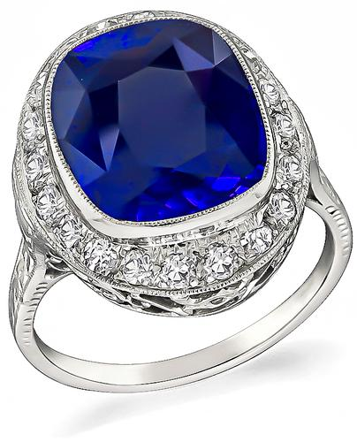 Antique Cushion Cut Ceylon Sapphire Old Mine Cut Diamond Platinum Engagement Ring