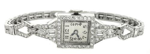 Art Deco 3.80ct Diamond Platinum Watch