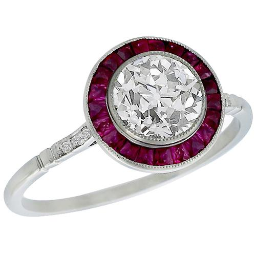 Antique EGL Certified 1.21ct Old European Cut Diamond 0.50ct  Ruby Platinum Engagement Ring