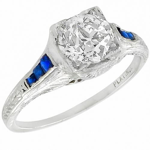 Antique EGL Certified 1.33ct  Old European  Diamond Sapphire Platinum Engagement Ring