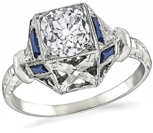 Vintage Old Mine Cut Diamond Sapphire 14k White Gold Engagement Ring