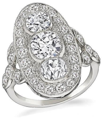 Cushion Cut Center Antique Diamond Old Mine Cut Side Diamond Platinum Ring